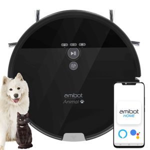 AMIBOT Animal XL H2O Connect - Saugroboter und Bodenreinigungs (APP IOS & Android, hybrider roboter, 200 m², 100 minuten, 750 ml XL Tank, Eingebautes Gyroskop, 22W, 2 Jahre Hersteller + 1 Jahr auf Amibot.tech angeboten)