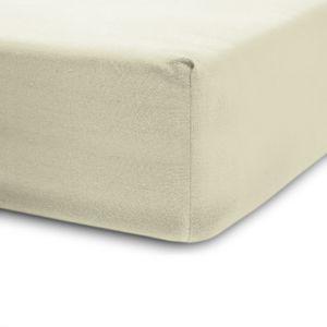 Lumaland 180-200x200-220cm Spannbettlaken für Boxspringbett und Wasserbett 100% Baumwolle mit Rundum-Gummizug Sand