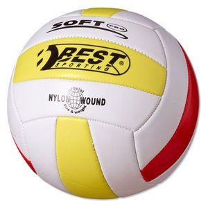 Best Sporting Volleyball Größe 5, weiß/gelb/rot oder weiß/hellblau/blau, Farbe:weiß/gelb/rot