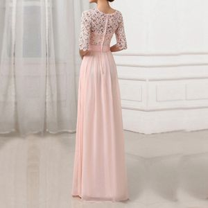 Frauen-Kleid-Spitze-Chiffon- halbe Huelsen-duennes Maxi-Kleid-elegantes Prinzessin-Abend-Partei One-PieceL