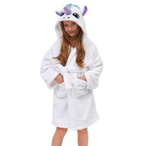 Mädchen Bademantel Einhorn Fleecebadementel mit Kapuze für Kinder 8-9 Jahre,Weiß