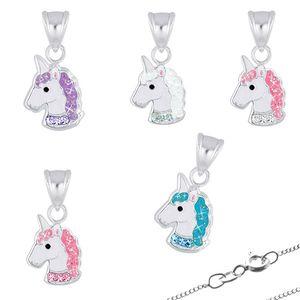 Kinderkette Silber 925 Kette: Einhorn Halskette für Mädchen, Modell:Modell 3