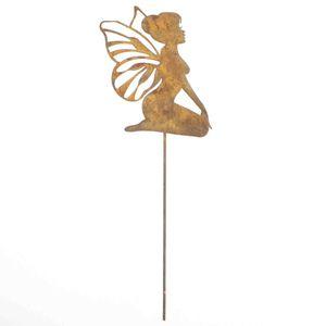 1 Stecker Fee Elfe Metall Rost Garten Pflanzenstecker Deko Stab div. Größen, Größe:L35cm