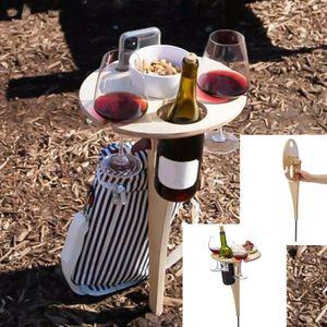 Outdoor Klappbar Weinregal, Holz Campingtisch Tragbar Klapptisch Outdoor Tisch, Optimal für Wanderer, Camping, Outdoor Aktivitäten 30*20cm