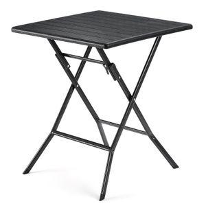 SONGMICS Gartentisch klappbar aus Kunststoff 62 x 62 x 73 cm wasserfeste Klapptisch imitierter Holzmaserung schwarz GPT04BK