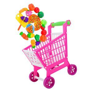 Kinder Kaufladen Zubehör - Mini-Einkaufswagen Warenkorb mit 24 Stück Lebensmittel Spielset