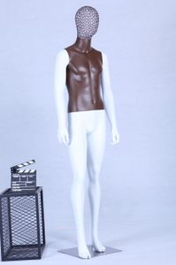 AB+99W Schaufensterpuppe weiß matt lackiert Brauner Brustkorb hochwertig Metallgitter Kopf mit Metallplatte Männlich Mann