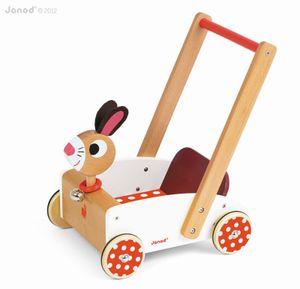 JANOD Lauflernwagen Crazy Rabbit Schiebewagen Holz Spielzeug Kleinkinder