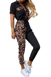Damen Leo Print Jumpsuit Design Muster Freizeitanzug Fitness Fashion Overall Sommer Playsuit, Farben:Schwarz, Größe:38