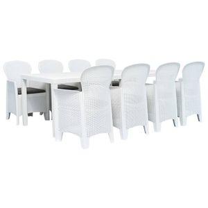 Gartenmöbel Essgruppe 8 Personen ,9-TLG. Terrassenmöbel Balkonset Sitzgruppe: Tisch mit 8 Stühle Kunststoff Weiß Rattan-Optik❀6678