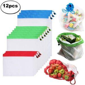 Obstbeutel und Gemüsebeutel 12 Set Wiederverwendbare Gemüsenetze Polyester Einkaufstasche 3 Größen Umweltfreundlich Waschbar Robust Leicht Säcke für Einkaufen, Aufbewahrung (MEHRWEG)