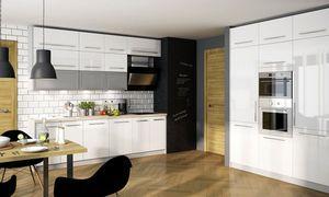 Küchenzeile 280x180cm grau / weiß Hochglanz alufarben Küchenblock Modern Küche Komplett