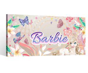 Leinwandbild Name Barbie Wunschname Girl Mädchen Kinderzimmer Bilder Schmetterlinge Leinwand Pferd Leinwandbilder 9DE187, Leinwand Größe 1:80x40cm