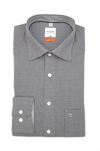 Olymp Luxor Hemd Modern Fit mit New Kent Kragen mit Karo Schwarz/Weiß - 38