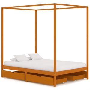 140x200 cm Doppelbett Himmelbett-Gestell Kinderbett mit 4 Schubladen Massivholz Kiefer ❤2917