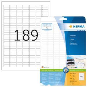 Etiketten Premium A4, weiß 25,4x10 mm Papier matt 4725 St.