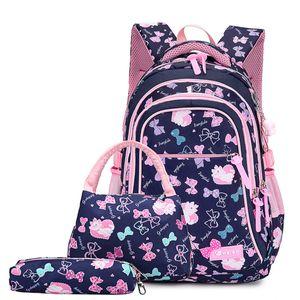 Schulrucksack Schulranzen Schultasche Sports Rucksack Freizeitrucksack Daypacks Backpack für Mädchen Jungen & Kinder Jugendliche mit der Großen Kapazität (Dunkelblau Set)