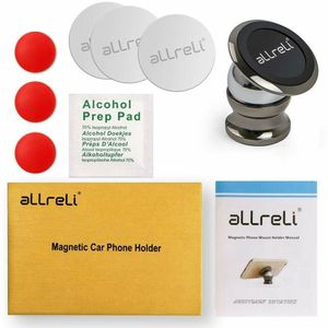 Allreli Kfz Handyhalter Navihalter Magnet für Handy Smartphone 360Grad Winkel Schwarz Halterung Halter Pkw Lkw Auto universal