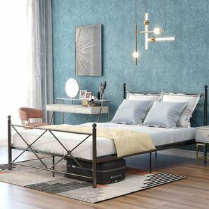 Metallbett 140 x 200cm Dopelbetten Hochwertiger Bettgestell mit Kopf- und Fußteil, Metallbetten Bett für Schlafzimmer, Schwarz