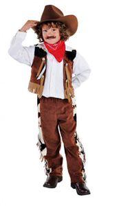 M212009-128 braun Kinder Cowboy Kostüm Wild West Anzug Hose Weste Gr.128