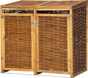 dobar Wetterfeste Doppel-Mülltonnen-Box aus Holz, aufklappbares Mülltonnen-Versteck für zwei 240l Tonnen, ungeschälte Weide, braun, 137 x 83 x 132 cm