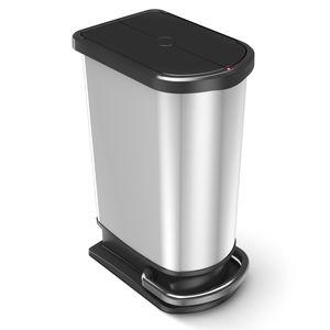 Rotho Paso Mülleimer 50l zur Mülltrennung mit Deckel und Pedal, Kunststoff (PP) BPA-frei, silber metallic, 50l (44.0 x 29.0 x 67.0 cm)