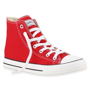 Mytrendshoe Herren High Top Sneakers Sportschuhe Stoffschuhe Freizeit Schuhe 817345, Farbe: Rot Lucky, Größe: 45
