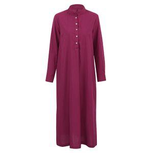 Frauen Casual Long Dress Long Sleeves Seitentaschen Schlitz Vintage Maxi Robe Cocktailkleider Burgund L