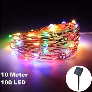 100 LED / 10 Meter Solar Draht-Lichterkette Deko RGB Bunt zum Schmücken Deko Party Licht Beleuchtung