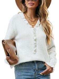 Damen Langarm V-Ausschnitt Rüschen Knopf Strickpullover Einfarbiger Pullover,Farbe: Weiß,Größe:L