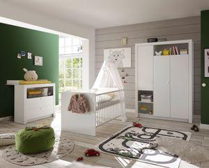 """Babyzimmer-Set """"Paula"""" 3tlg Wickelkommode Babybett Kleiderschrank 3türig  weiß"""