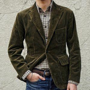 Herren New England Solid Color Hochwertiger lässiger Cord-Einreiheranzug Größe:S,Farbe:Türkis