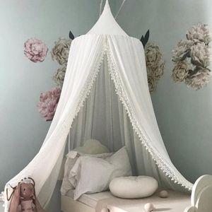 Betthimmel Baldachin für Mädchen und Jungen Deko Kinder Kinderzimmer Bett Moskitonetz 60 x 240 cm aus Chiffon-Spitze, Weiß