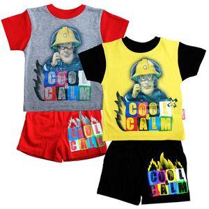 Pyjama kurz Sam | Feuerwehrmann Sam | Größe 92 | Set T-Shirt & Shorts, Größe:92, Farbe:Grau