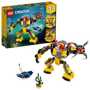 LEGO 31090 Creator Unterwasser-Roboter, U-Boot oder Unterwasser-Kran, 3-in-1 Set, Unterwasser-Abenteuer, Spielzeuge für Kinder ab 7 Jahren