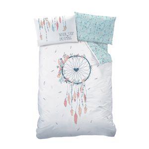 Traumfänger Baby-Bettwäsche 40x60 + 100x135 cm · Bohemian Style, Dreamcatcher, Federn & Blumen · Renforce Bettwäsche für Kinder - 100% Baumwolle