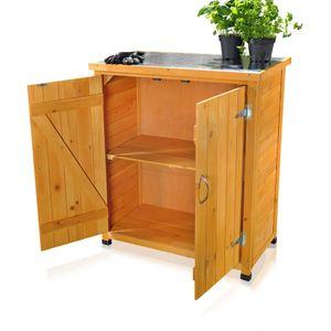Geräteschrank Gerätehaus Gartenschuppen Schrank Schuppen Gartenschrank + 2 Türen Pflanztisch Terrassenschrank Mehrzweckschrank