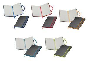 5x Notizbuch / DIN A5 / 160 S. / liniert / PolyurethanHardcover / 5 verschiedene Farben