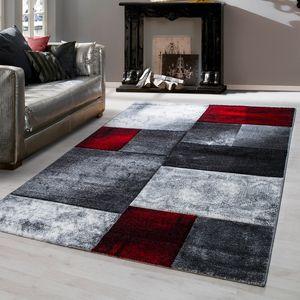 Teppich modern design Teppich Rechteckig Kurzflor Kariert Meliert Rot, Farbe:ROT,160 cm x 230 cm