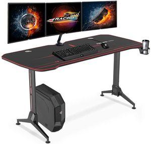 SANODESK Gaming Desk Schreibtisch höhenverstellbarer Computertisch PC Schreibtisch mit 160cm übergrößem Desktop, Schwarz