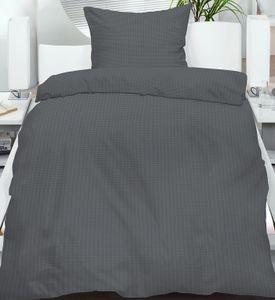 2-tlg. Seersucker Bettwäsche 135x200 +80x80 cm, anthrazit-grau, uni einfarbig, bügelfrei, Microfaser