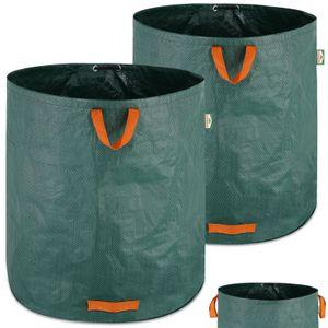 Gartenabfallsack 2 x 500L = 1000L | Gartensack mit Stabilisierungsring | Laubsack wasserabweisend | Gartensäcke faltbar