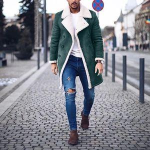 Herren Wollmantel Warme Winter Trench Long Outwear Button Smart Overcoat Mäntel Größe:XXL,Farbe:Grün