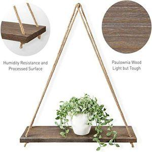 Deko Wandboard Hängeregal Holz Regal mit Jute Seil Schweberegal Blumenampel, Braun