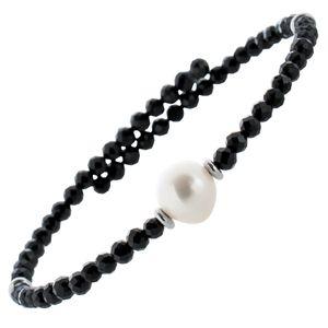 Edelstein Perlen Armreif Armband Spinell 3mm facettiert weisse Süsswasserperlen 8mm Einreihig Län