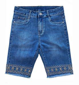 Damen Capri Jeans Shorts Stretch Bermuda Hose kurz Stickerei, Farben:Blau, Größe:44