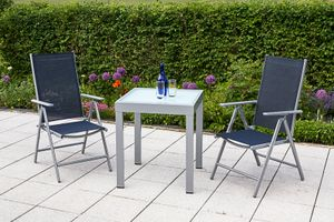 Merxx 3tlg. Amalfi Set, marineblau - 2 Klappsessel, 1 Balkonausziehtisch - Farbe: silber/ blau -  Maße: Sessel: 65 x 57 x 108; Tisch: 65 (130) x 65 x 75  cm; 2x 26311-313 + 1x 26441-219