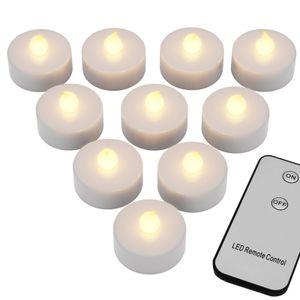 Deuba 10 LED Teelichter mit Fernbedienung Flackernde Batteriebetriebene Kerzen inkl. Batterie Warmweiß 3,7cm Elektrisch