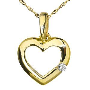 MATERIA Herzkette Gold 375 Damen - kleiner Kettenanhänger Herz Zirkonia Stein mit 42cm Goldkette in Geschenk Box GKA-6