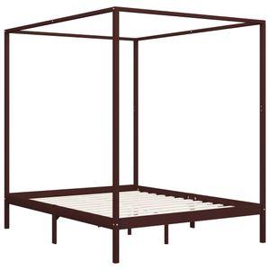 Hommie® Himmelbett-Gestell Bettgestell Bett Bettrahmen Modern Design - Doppelbett Bett für Schlafzimmer Dunkelbraun Massivholz Kiefer 180 x 200 cm ❤1408